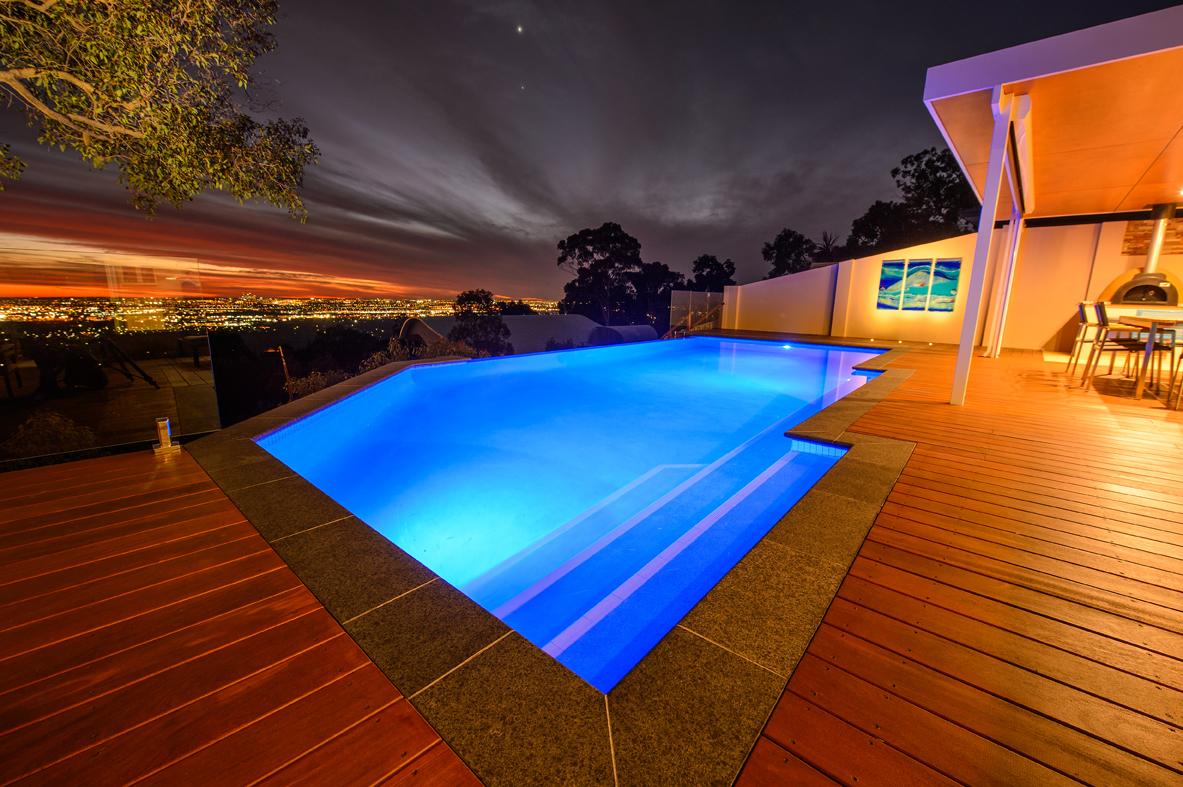SwimFresh Pool at Night